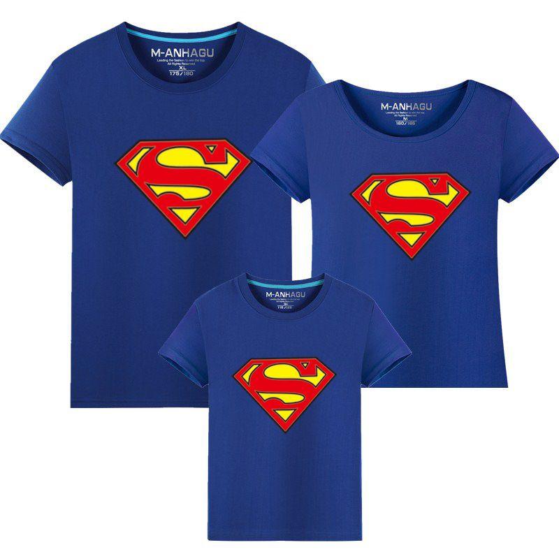 1 pièces chaud Superman famille correspondant t-shirts qualité coton été Style mère et fille père et fils vêtements imprimer T-shirt