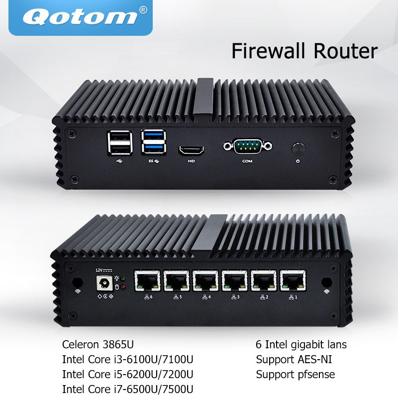 Qotom Mini PC Core i3 i5 i7 Fanless Micro Computer 6 Gigabit Nic LAN Pfsense AES-NI Firewall Server Ubuntu PC q500G6