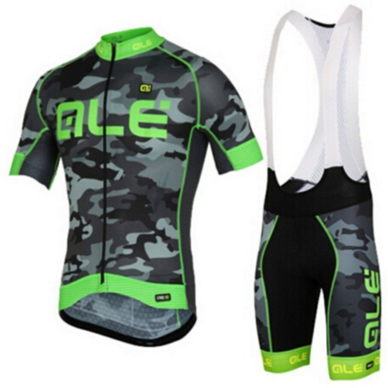 ALE 2017 Team Camouflage Cycling Jersey With Bib Set Ciclismo Bike Clothes Suit Bicycle Racing Clothing Quick Dry Ropa ciclismo