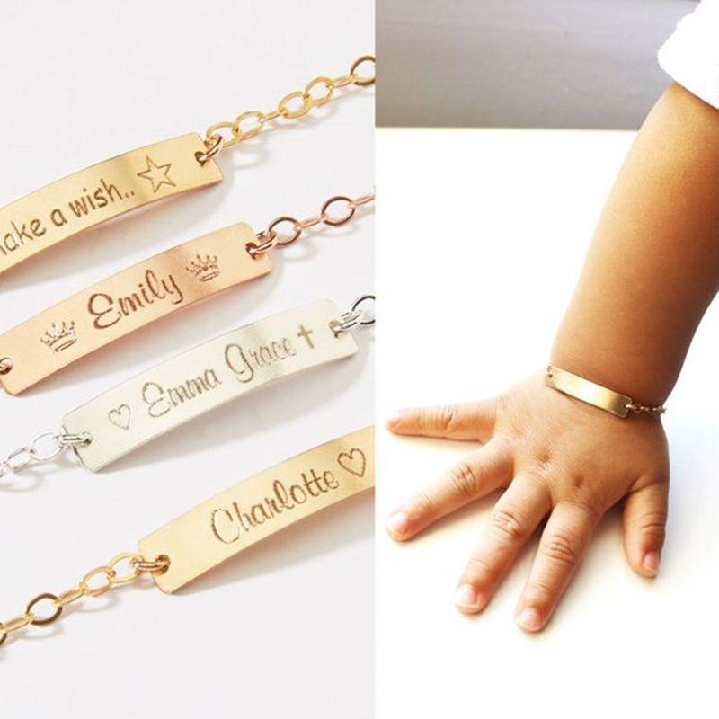 Bijoux pour bébé Rose or charme enfant ID nom personnalisé Bracelets cadeau d'anniversaire en acier inoxydable chaîne personnalisée plaque signalétique 2019