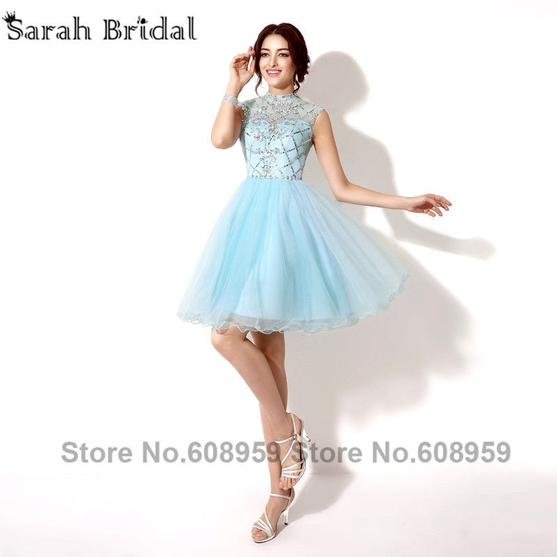 Fashion Sky Blue Crystal Beading Short Homecoming Dresses vestido de festa Elegant Sequined A-line Mini Prom Dresses SD199
