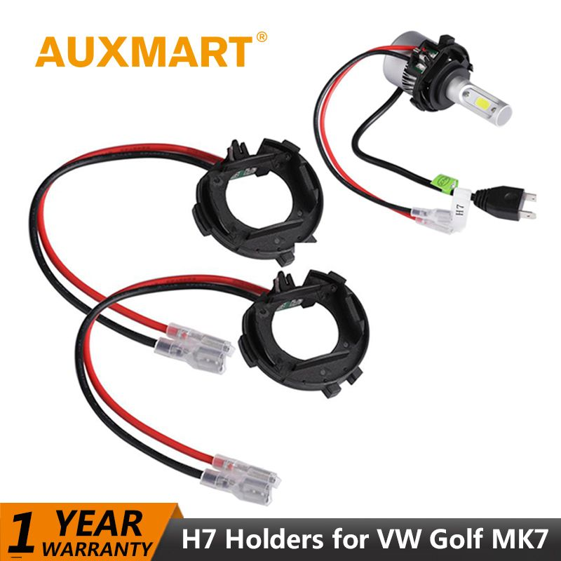 Auxmart LED H7 Adapter for VW Golf MK7 Headlight H 7 LED Bulb Base Holder Adapter for VW Golf MK 7 Socket Connector Car-styling