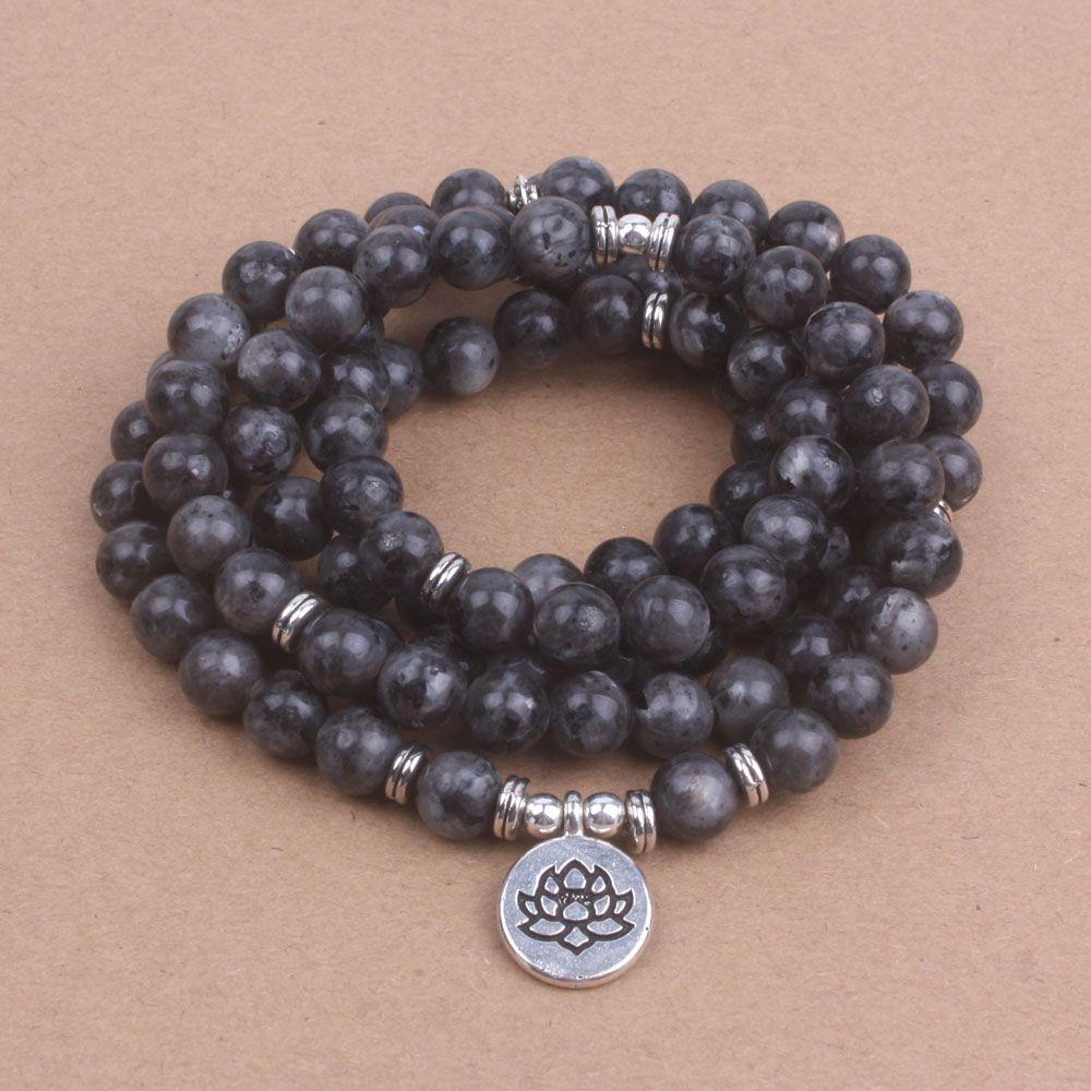 108 mala Labradorite with Lotus OM Buddha Charm Yoga Bracelet or Necklace Natural stone jewelry dropshipping