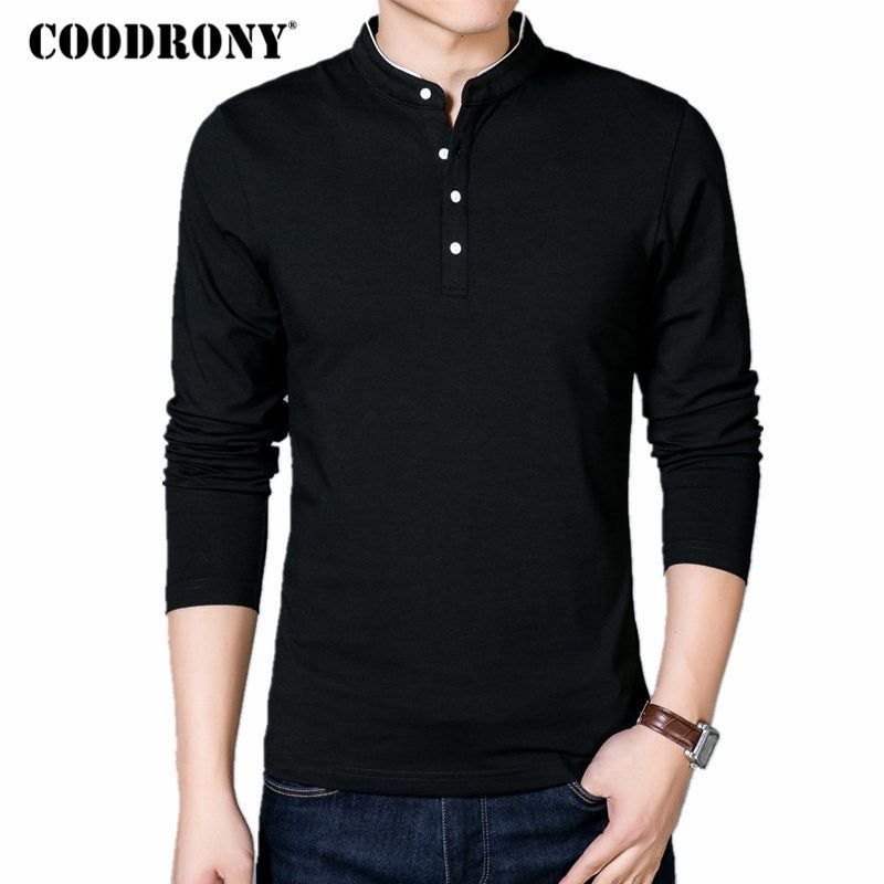 COODRONY T-Shirt Men 2018 Spring Autumn New Cotton T Shirt Men Solid Color Chinese Style Mandarin <font><b>Collar</b></font> Long Sleeve Top Tee 608