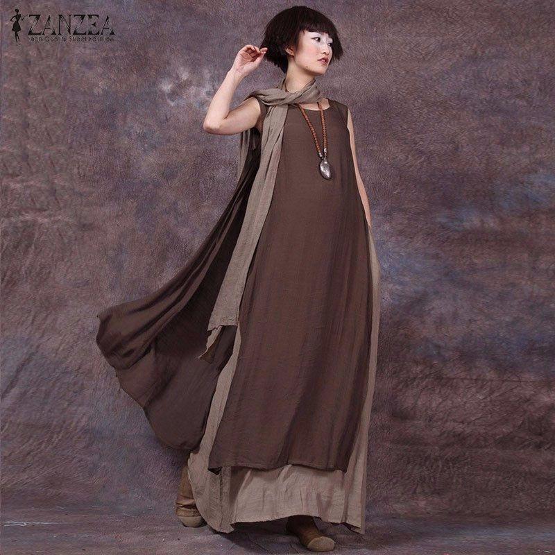 Oversized 2018 Summer ZANZEA Women Vintage Casual Loose Sleeveless Dress Sexy Ladies O Neck Splice Long Maxi Dresses Plus Size
