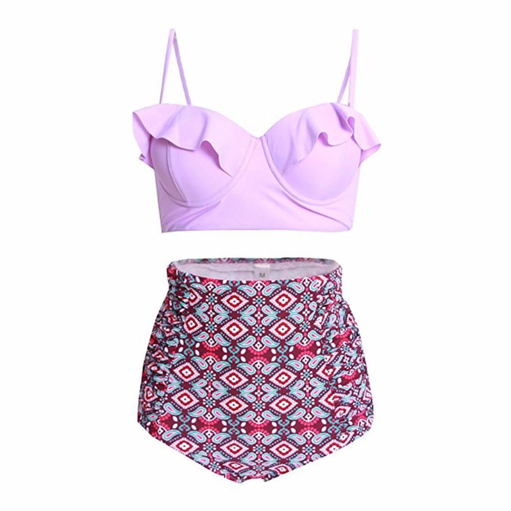 Vintage taille haute Floral femmes Bikini ensemble à bretelles Push Up maillot de bain à volants maillot de bain grande taille maillots de bain rétro plage porter XXL