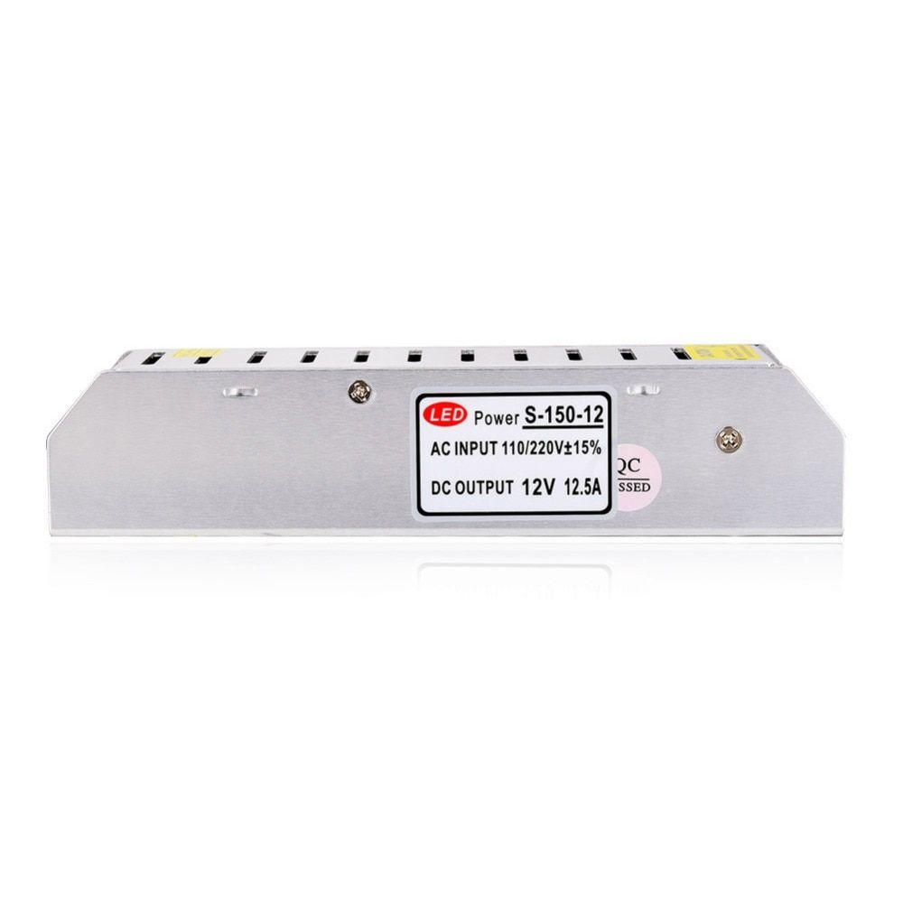 12V 12.5A 150W Switching Power Supply LED Strip Light Transformer Adapter Aluminum for Ledstrip Lighting non waterproof