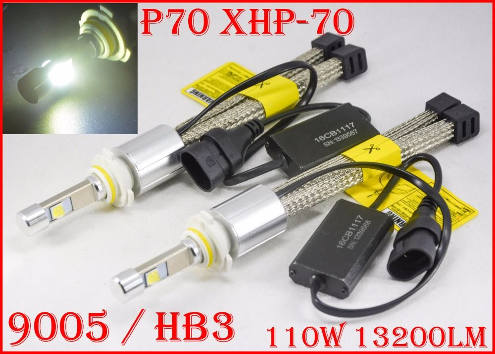 1 Set P70 110W 13200LM 9005 HB3 / 9006 HB4 LED Headlight Kit XHP70 Chip Fanless SUPER White 6000K Driving Headlamp H4 H8 H11 H16