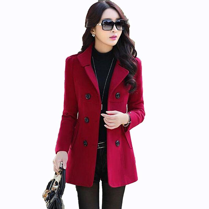 2017 Automne Hiver nouvelle mode femmes laine manteau à double boutonnage manteau élégant moulante cocon laine long manteau Solide couleur tops LU304