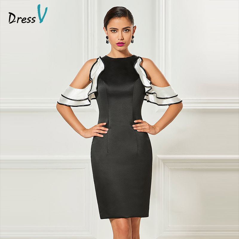 Dressv black short cocktail dress sheath stain sleeves ruffles zipper up knee length cocktail dress formal party dress