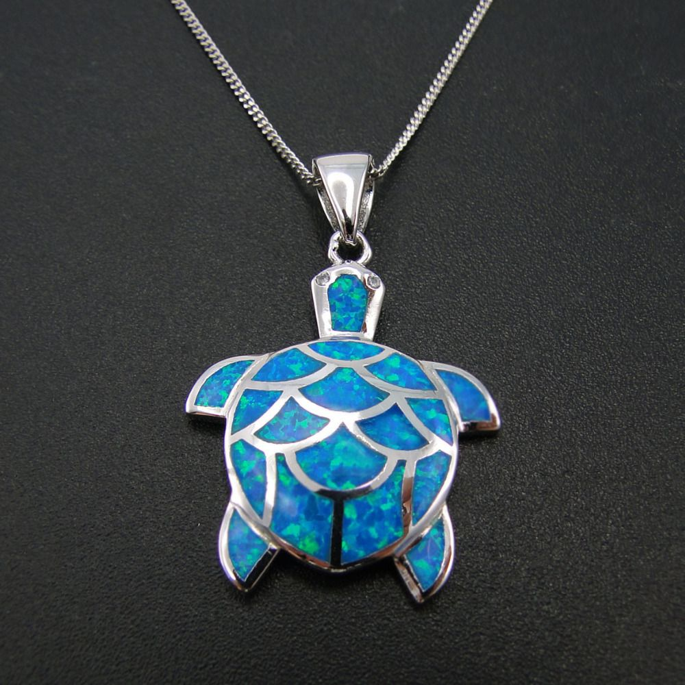Big Pendant Blue Fire Opal Pendant Sea Turtle Women Pendant 100% Sterling Silver Jewlery Fine Women  Jewelry 5.5g without Chain