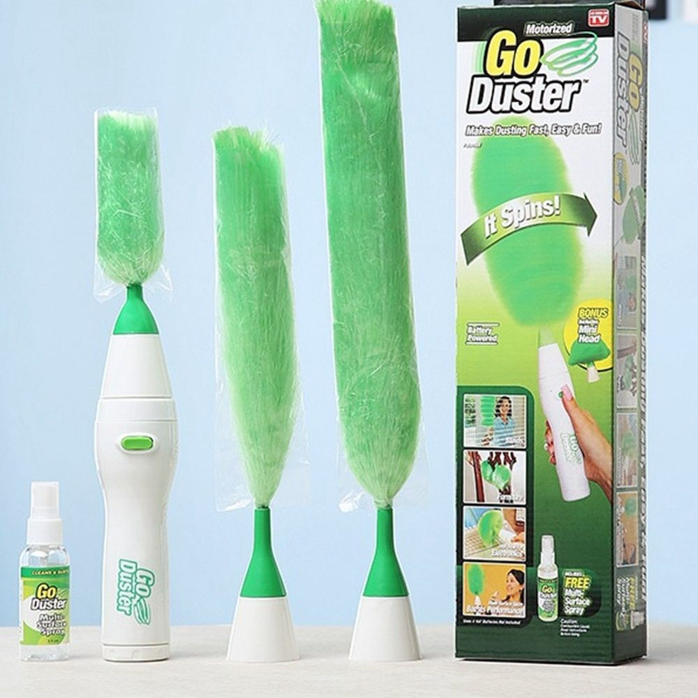 Electric Dust Brush Multifunction <font><b>Green</b></font> Feather Duster Dust Brush Window Cleaner for curtains Home cleaning