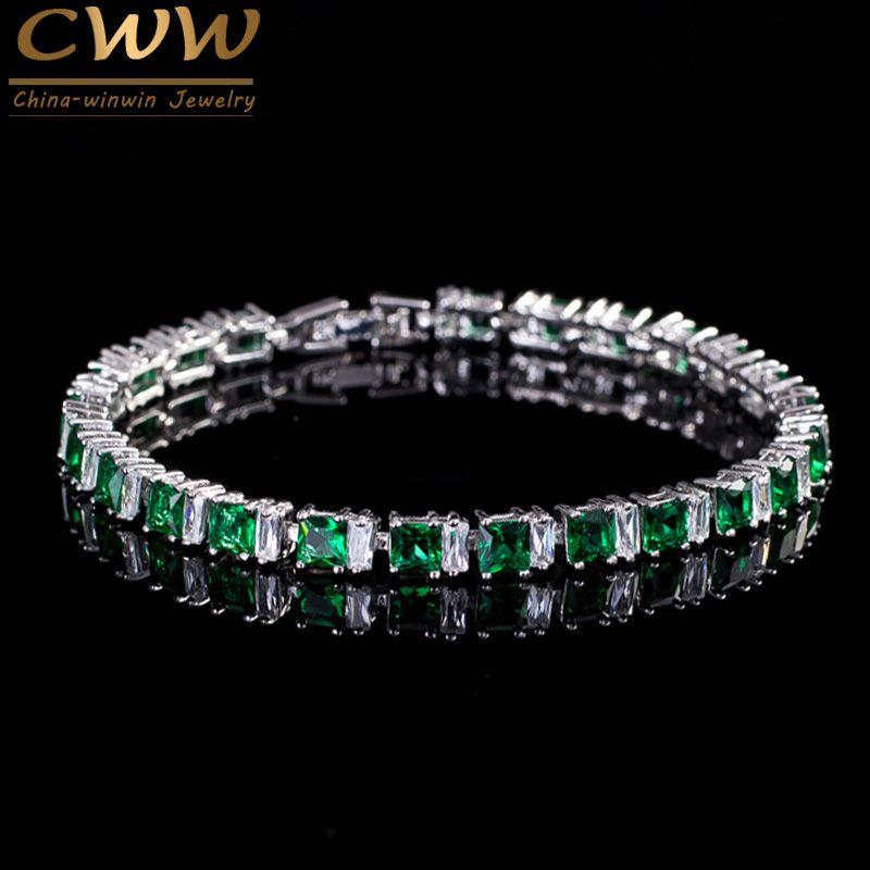 CWWZircons marque haute qualité cubique zircone pavé carré vert pierre mode bracelets pour femme meilleur ami bijoux CB146