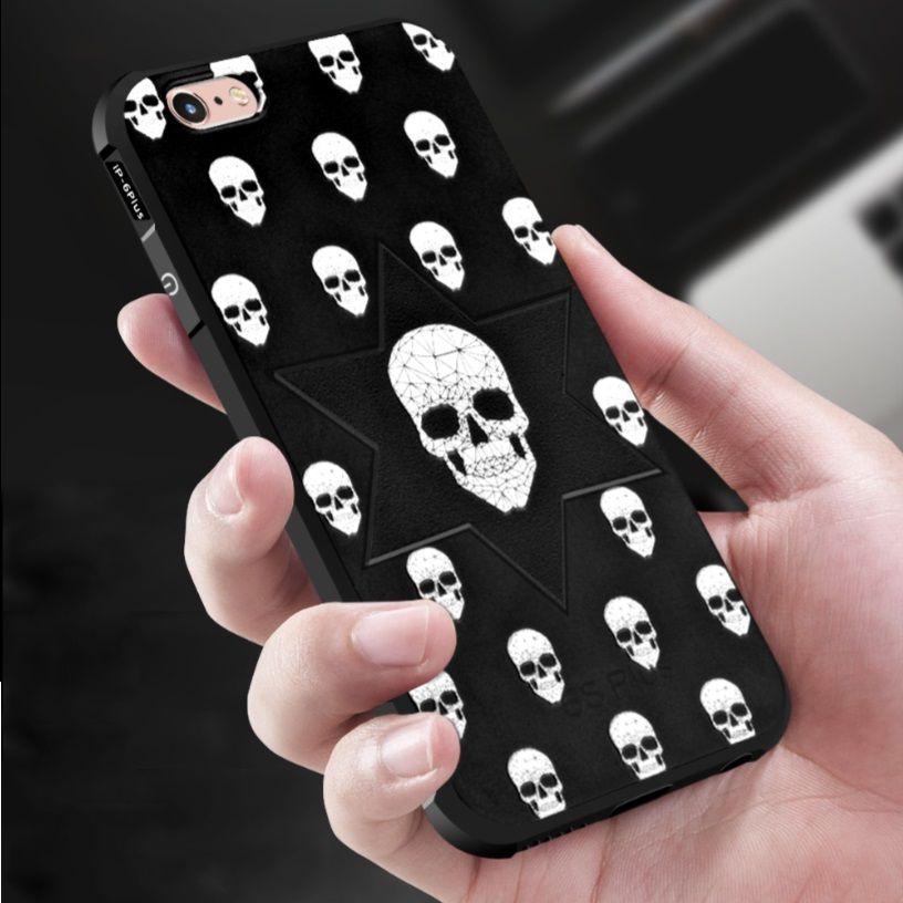Anti Choc TPU Crâne Cas Pour l'iphone X XS MAX 7 8 6 6 s Plus Cellulaire Téléphone 360 degré Pleine Protection Ultra Mince de Couverture Arrière