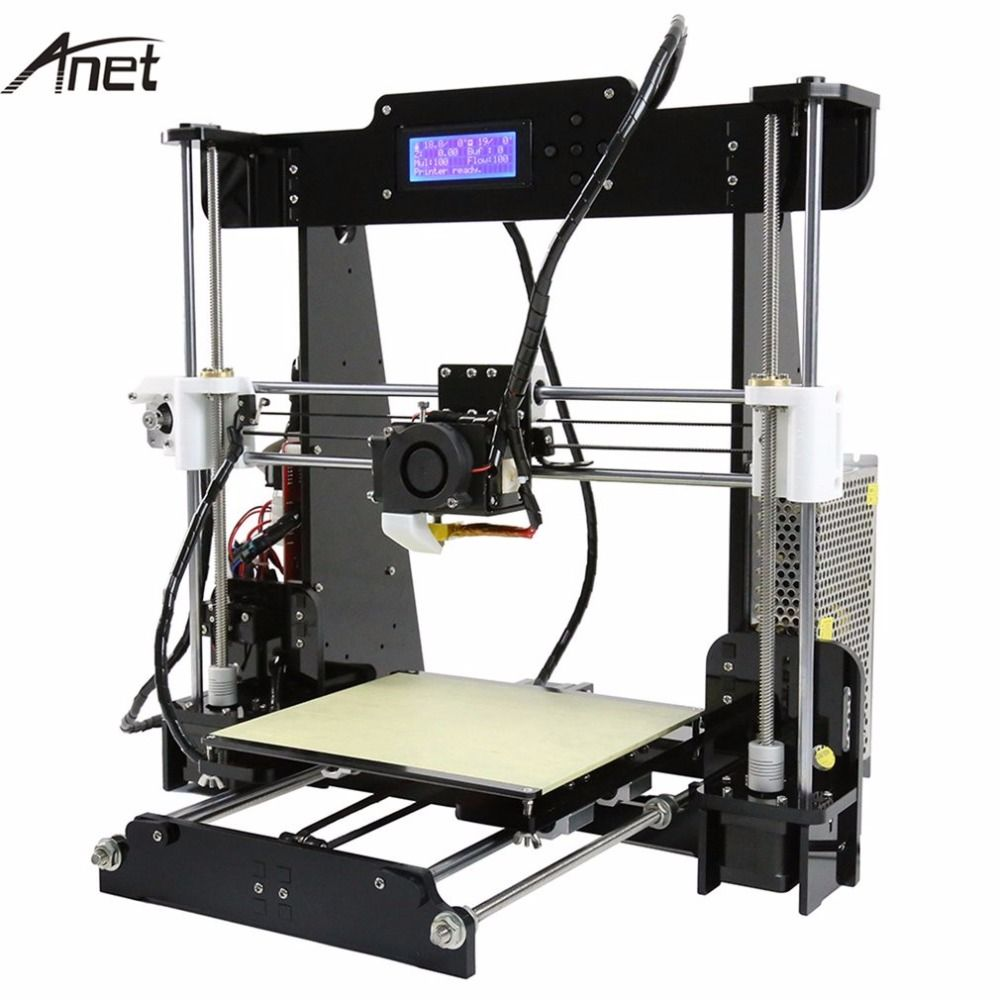 ANET Original 3D Printer DIY 3D Color Printing Acrylic Frame Mechanical Kit Print 3 Materials LCD Filament Aluminum Structure