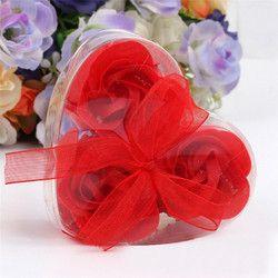 3 Pcs Parfumée Fleur de Rose Pétale Corps Bain Savon De Mariage Parti Cadeau