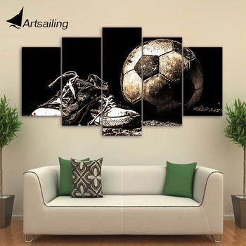HD с 5 шт. холст Книги по искусству футбольные бутсы роспись стены фотографии модульный оформлена картина Home Decor Бесплатная доставка CU-2584C
