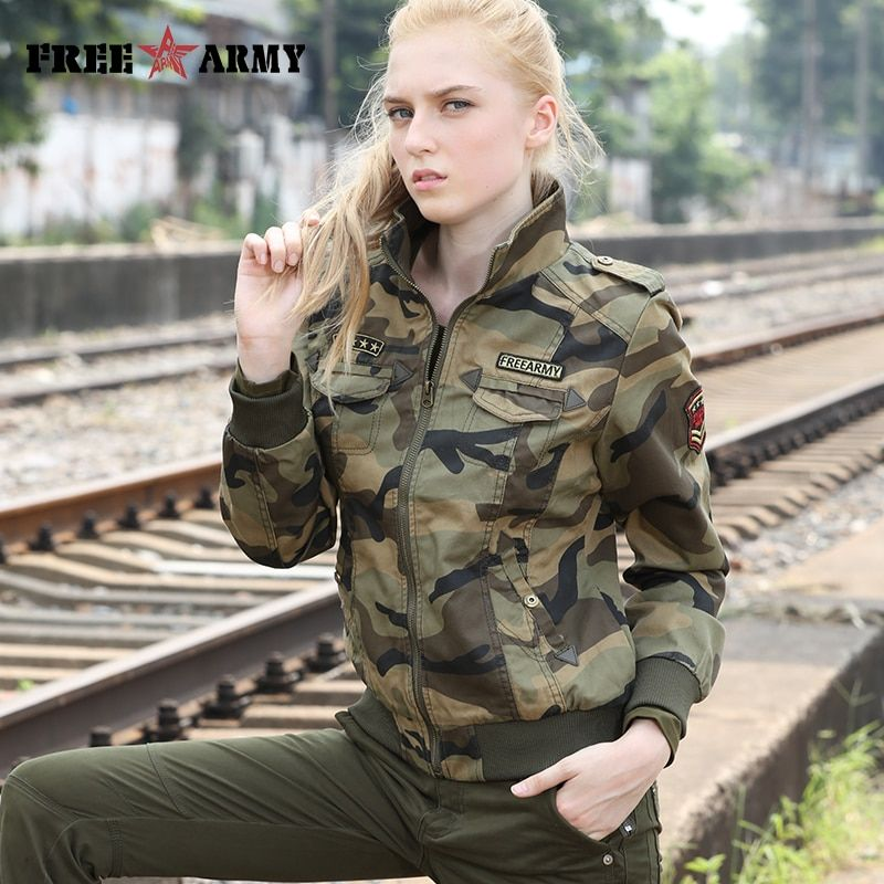 FreeArmy Brand Autumn Jackets Women New Denim Jacket Female Camouflage Fall Jackets For Women Coat Bomber Jacket Camo Plus Size