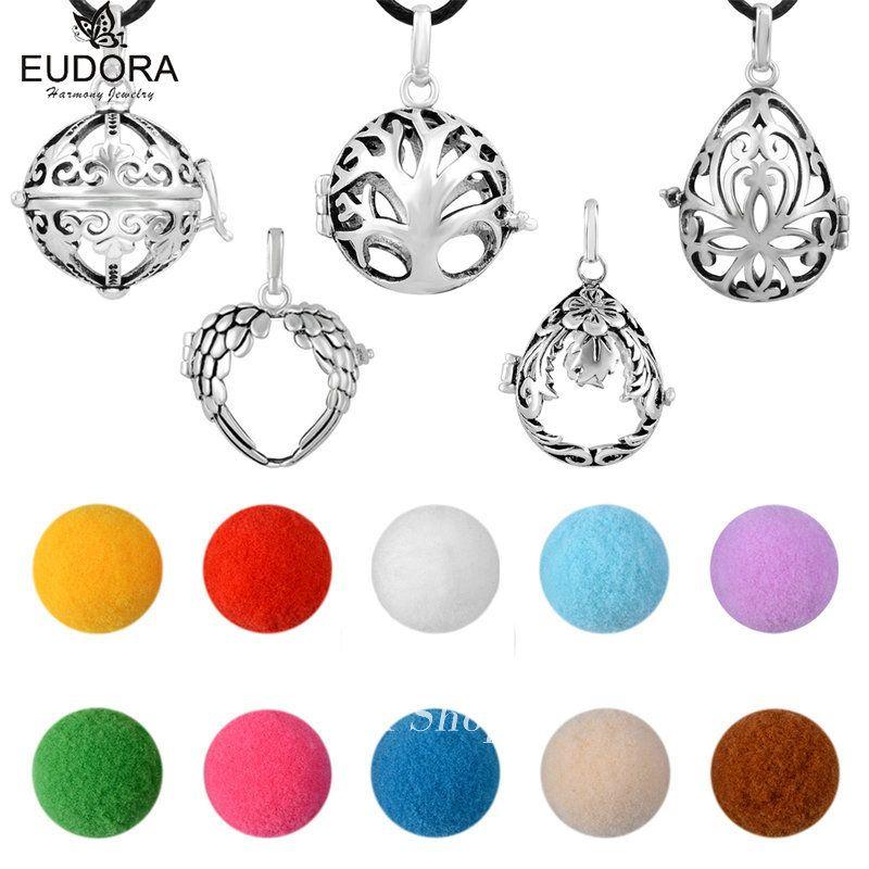 Mix Design cuivre métal aromathérapie médaillon Cage pendentif couleur huile essentielle artisanat boule ange appelant cire cuir collier cadeau