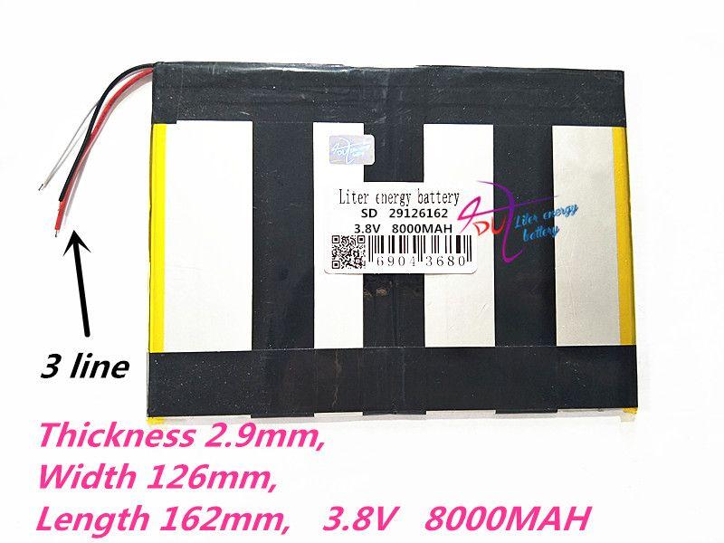 3 linie 29126162 3,8 V 8000 MAH (polymer lithium-ionen Wiederaufladbare batterien) für tablet pc, mid, energienbank, für Sanei N10, Ampe A10