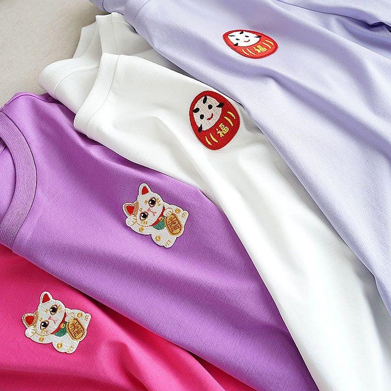 80 neue Mercerisierter Baumwolle Neue Shirts, Baumwolle Cartoon, frauen Rundhals Kurzarm T-shirt, dünne Und Schöne Sommer Tragen Neue S