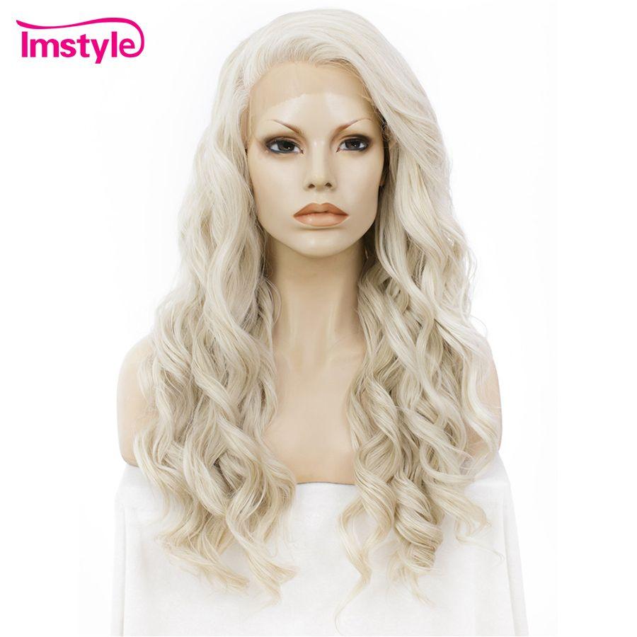 Imstyle Ash Blonde Avant de Lacet Perruques Pour Les Femmes Synthétique Perruque De Cheveux Longs Ondulés Cosplay Perruques Résistant À La Chaleur Fiber De Sans Colle 24 pouces