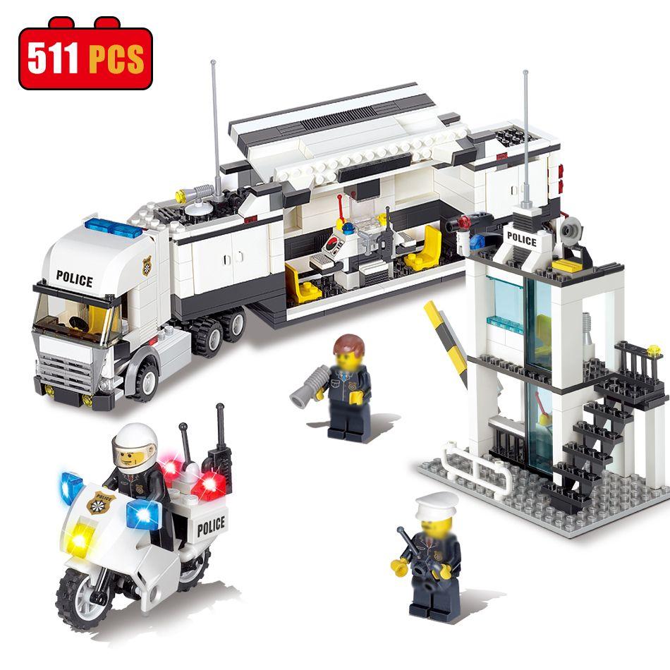 Bloques de Construcción Camión de Comisaría KAZI Compatible Legoe Ciudad BRICOLAJE Ladrillos de La Construcción Juguetes Regalos De Cumpleaños Para Los Niños
