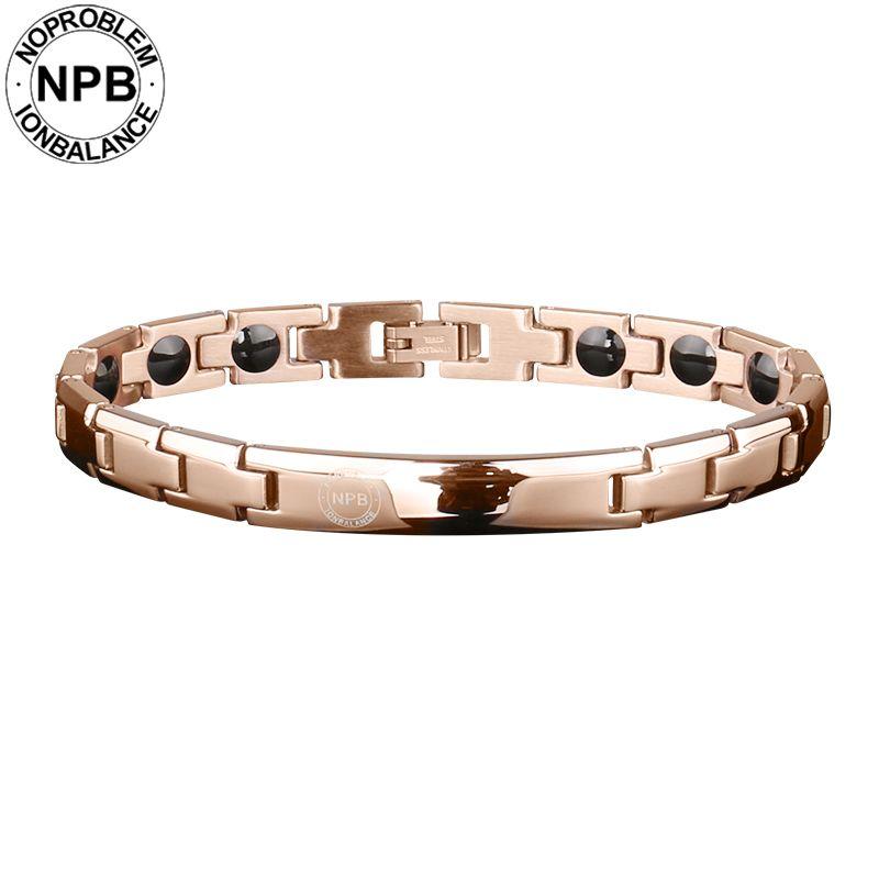 Noproblem 043 rose überzogene metall perlen halsband energie dame magnetische antifatigue turmalin germanium armbänder