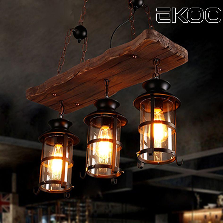 EKOO 3 Licht Vintage Industrielle Retro Holz E27 Kronleuchter Eisen Lampe Industrie Rustikalen Licht für restaurant bar Wohnzimmer