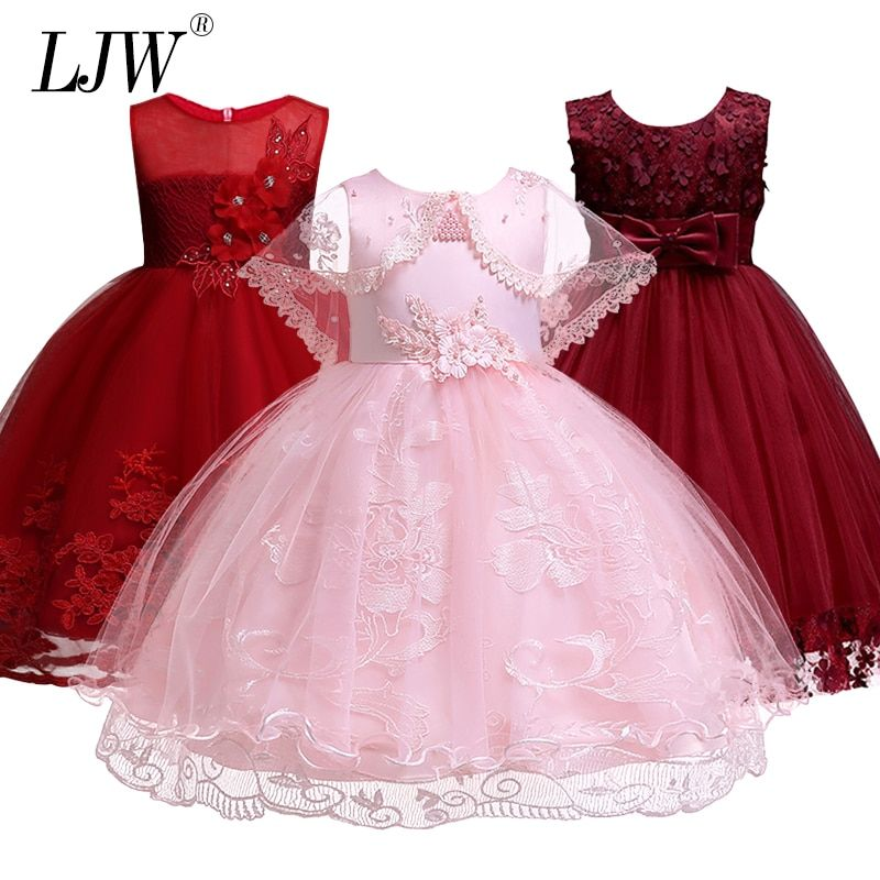 Kids Infant Girl Flower Petals Dress Children Bridesmaid Toddler Elegant Dress Vestido Infantil Formal Party Dress Wine red