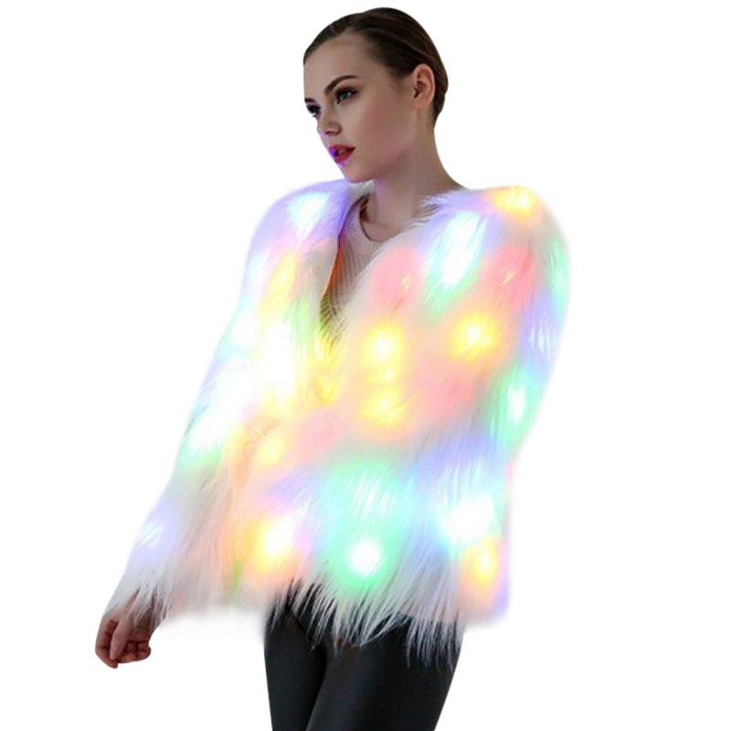 6XL Women Faux Fur LED Light Coat Christmas Costumes Cosplay Fluffy Fur Jacket Outwear Winter Warm Festival Party Club Overcoat