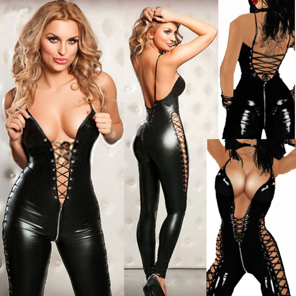 Sexy Lingerie Hot Women Prisoners Wild Charm Pu Leather Teddy Sexy Babydoll Erotic Lenceria Club Mini Dress Costumes