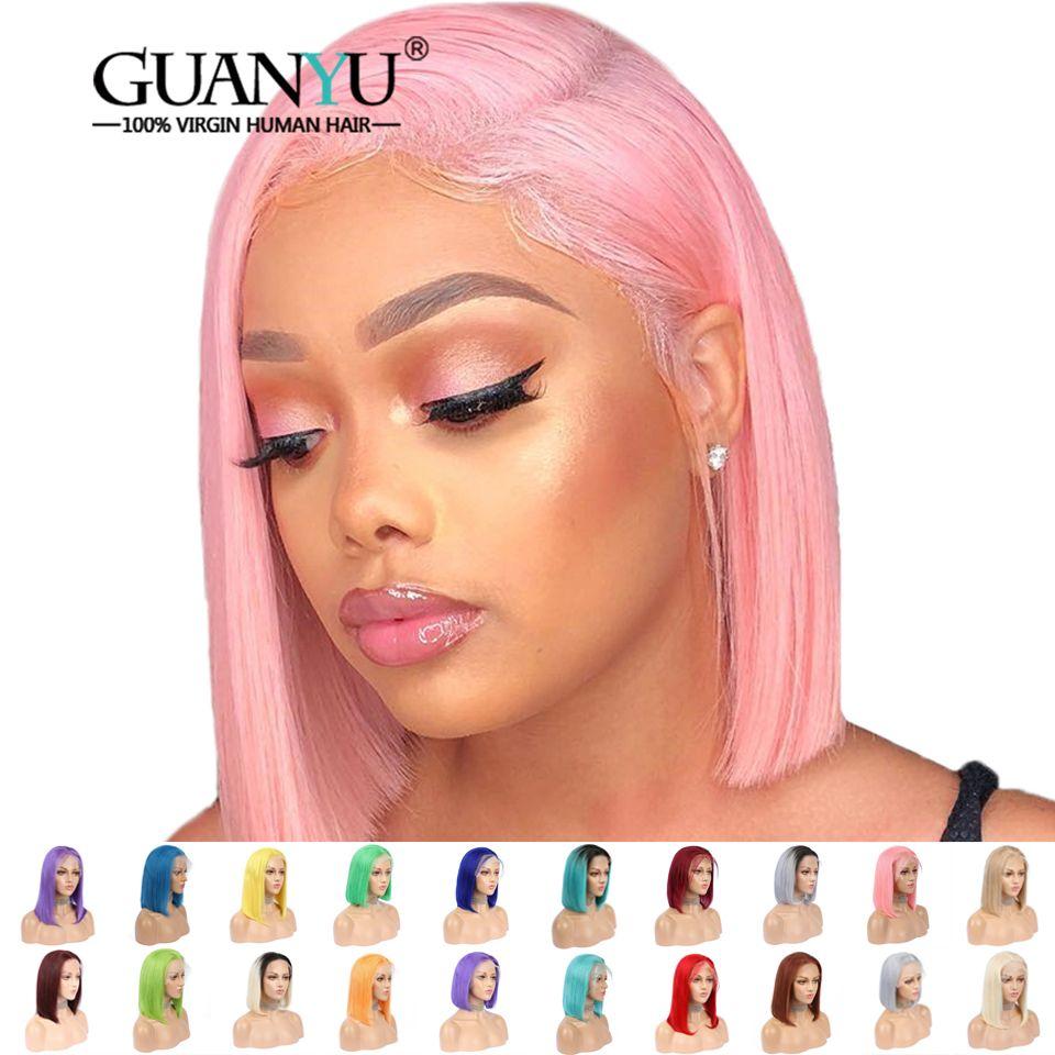 Rose Bob dentelle avant perruques cheveux humains pré plumé 613 Blonde bleu rouge gris vert droite Ombre courte Bob perruques pour les femmes noires
