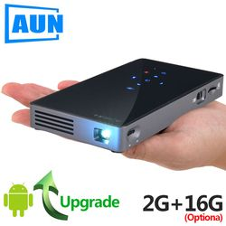 AUN Smart Projector, D5S, Android 7.1 (Optiona 2G+16G) WIFI, Bluetooth, HDMI, Home Theater Mini Projector (Optional D5 White)