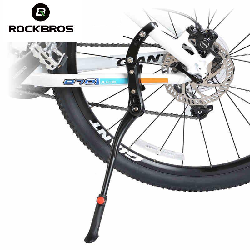 ROCKBROS 24'-29'' Adjustable Aluminum Bike Bicycle <font><b>Bicicleta</b></font> Side Stick Stand Kickstand Parking Racks Bike Accessories Black