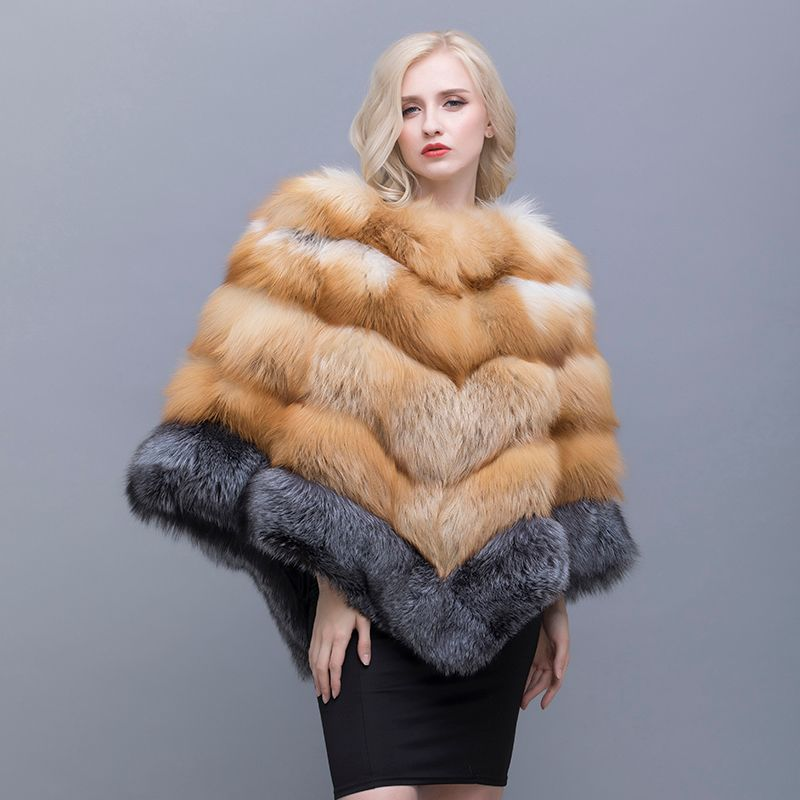 QIUSIDUN The Real Fox Fur Shawl Winter Collar Suits For Women In Fashion Leisure Pure Color Spring And Autumn Shawls Russian