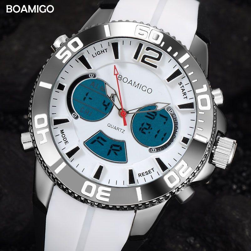 Men Sports Watches Fashion Digital Watches Quartz Watch BOAMIGO Brand Rubber Strap Wristwatch 30M Waterproof Relogio Masculino