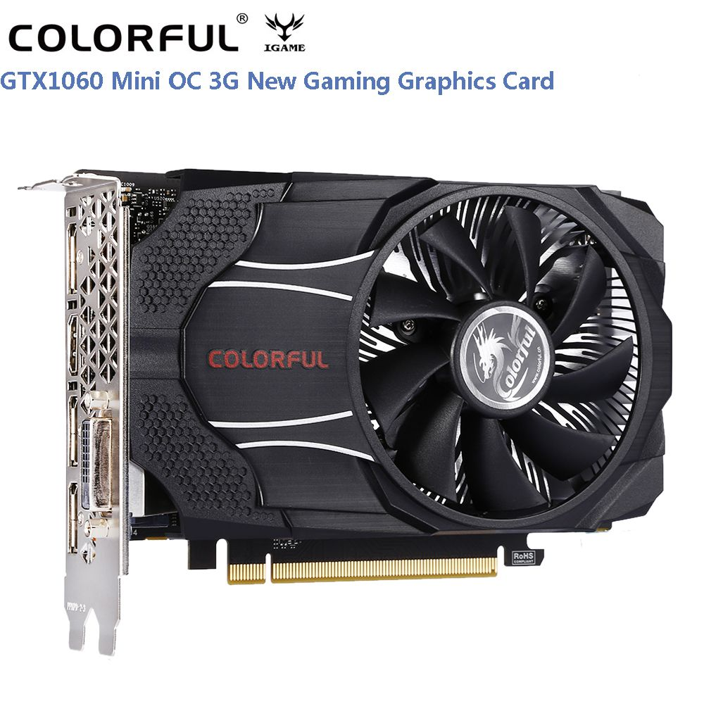 Original Colorful GTX1060 Mini OC 3G Gaming Graphics Card 8000MHz 3GB 192bit GDDR5 16nm With DVI HDMI DP Support 7680*4320