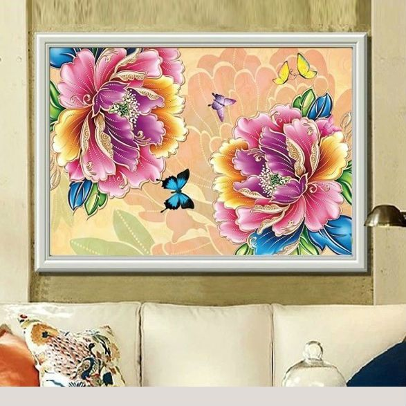 GLymg 5D bricolage diamant peinture point de croix diamant broderie pivoine fleur cristal cercle perceuse décor à la maison peinture plantes