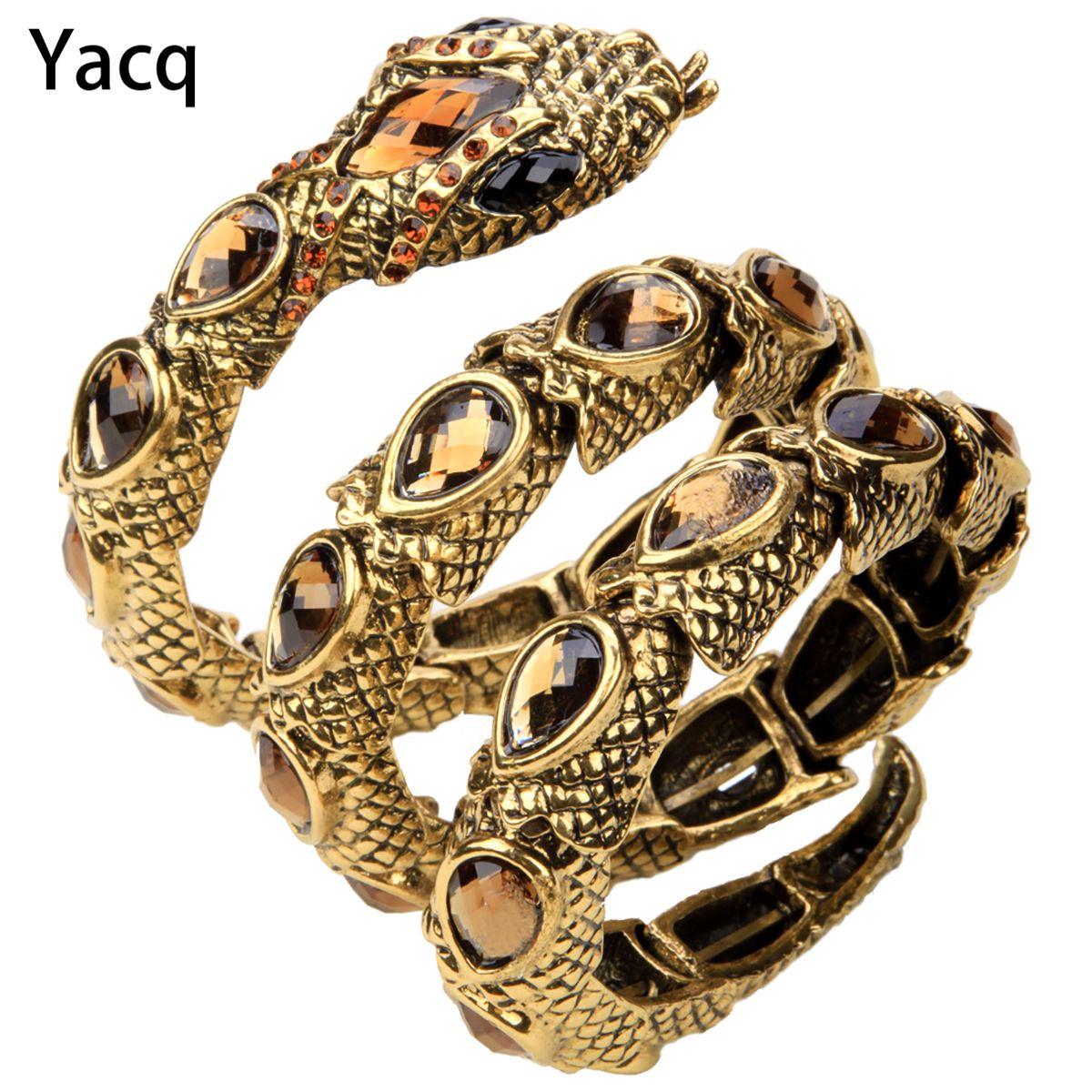 YACQ Bracelet serpent extensible Armlet bras supérieur manchette femmes Punk Rock cristal Bracelet bijoux or argent couleur livraison directe A32