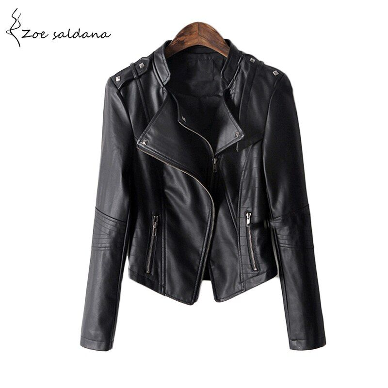 Zoe Saldana 2018 S Winter Black Leather Jacket Women PU Leather Coat Women's Short Motorcycle Biker Jacket Outerwear