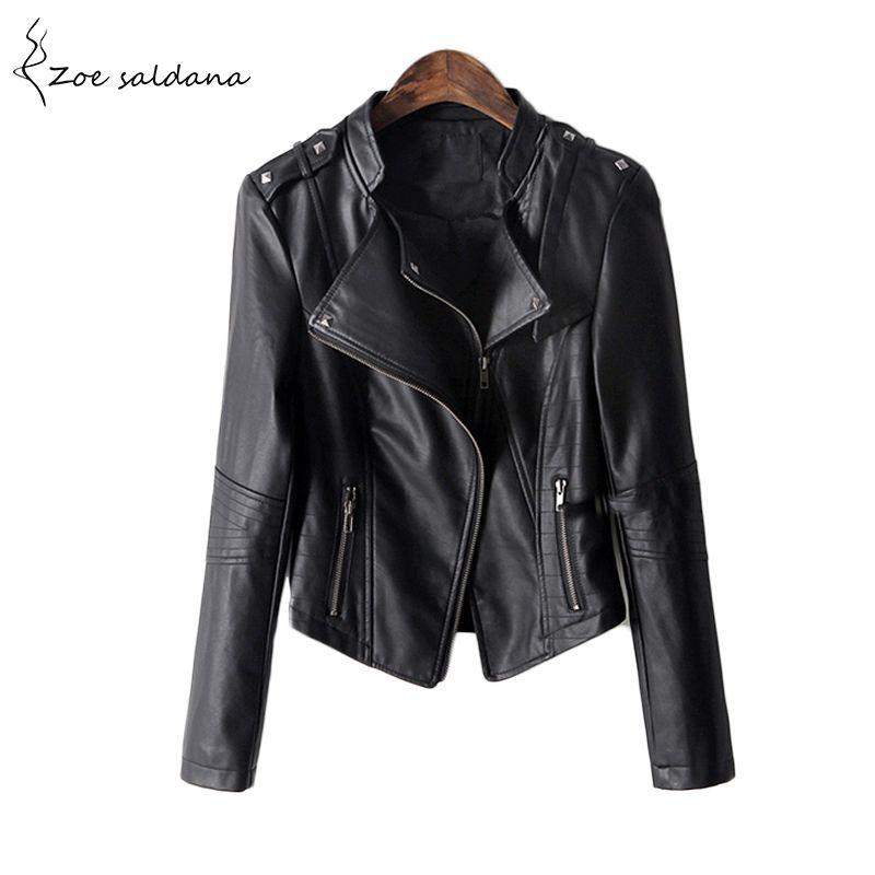 Zoe Saldana 2018 S Winter Black Leather Jacket Women PU Leather Coat Women's Short Motorcycle Biker Jacket Outerwear
