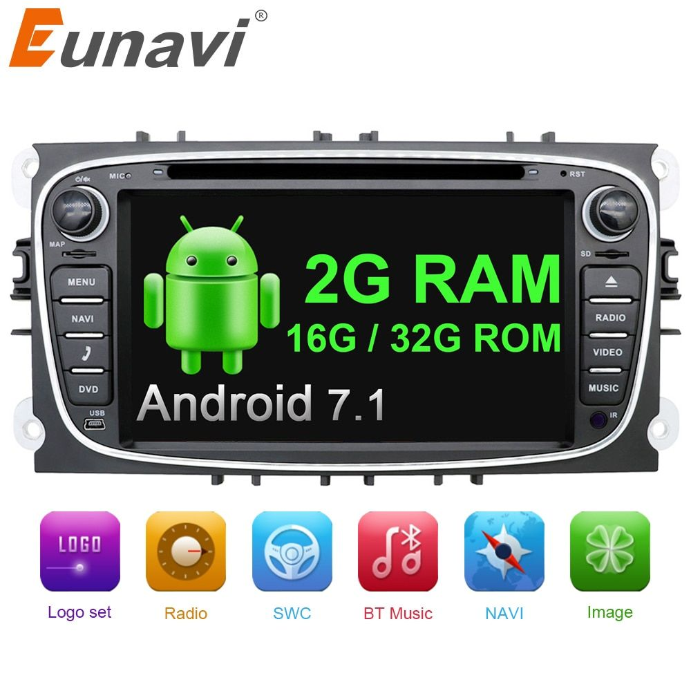 Eunavi 2 din Android 7.1 <font><b>Quad</b></font> Core Car DVD Player GPS Navi for Ford Focus Galaxy with Audio Radio Stereo wifi Head Unit 1024*600
