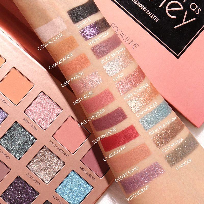 Focallure paillettes ombre à paupières 18 couleurs Pigment ombre à paupières Palette imperméable facile à porter miroitant maquillage fard à paupières