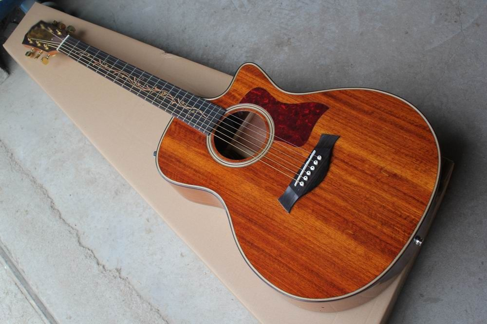 Wholesale New K24ce KOA classic acoustic electric guitar in natural, guitarra,Free shipping 141109