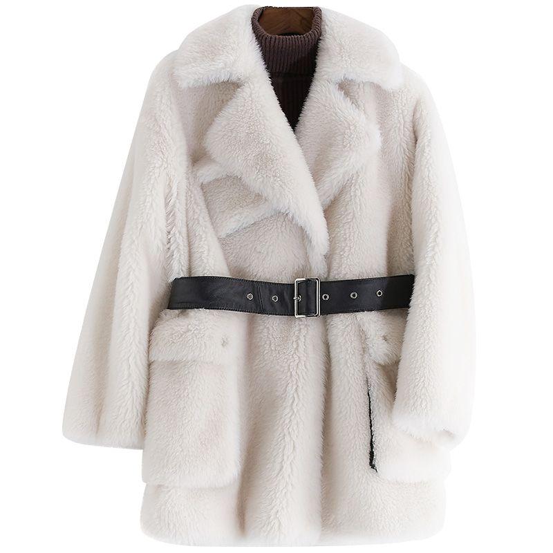 100% wolle Jacke Echtpelz Mantel Herbst Winter Mantel Frauen Kleidung 2018 Koreanische Abrigo Muje Rsheep Lammfell Pelz Lange Mäntel ZT828