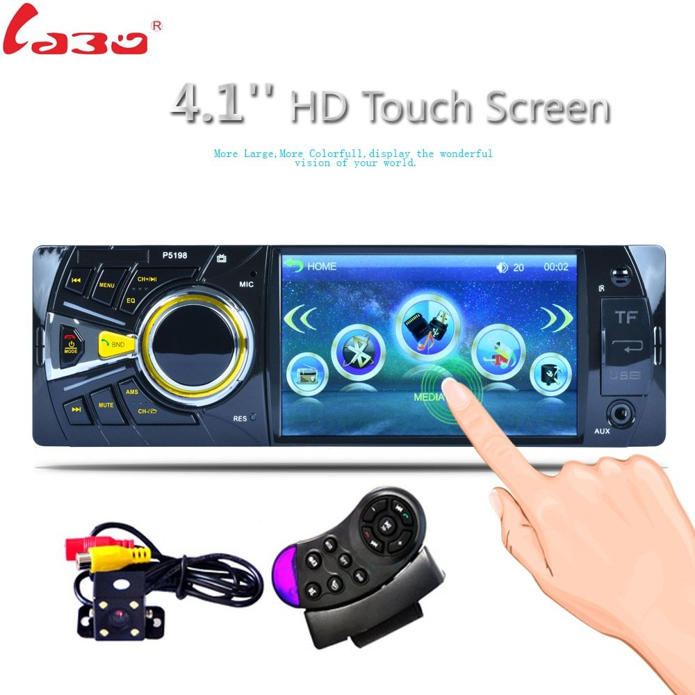 LaBo 4.1'' Bluetooth Car MP4 MP5 Player 1080P HD Touch Screen Support Rear View Camera Handsfree Car Audio Video FM USB SD AU