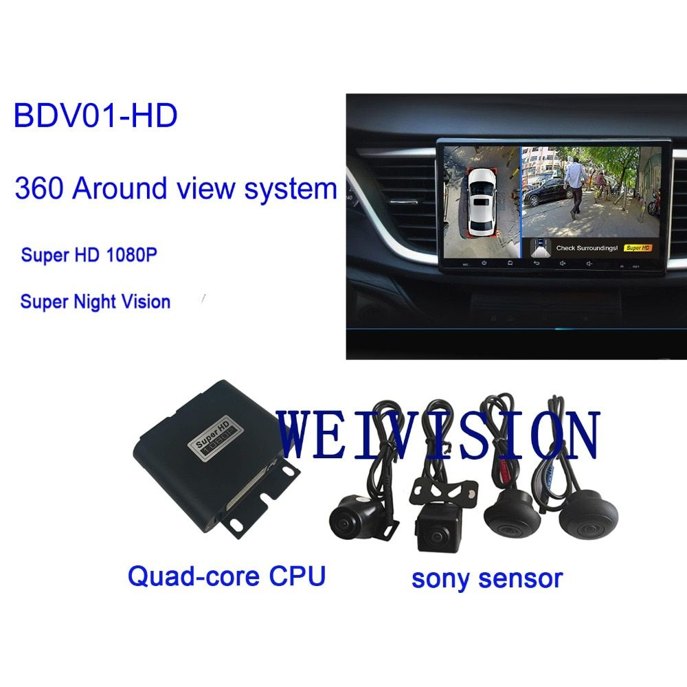 Weivision 1080P Super HD 360 Degree bird View System Panoramic View, All round View Camera system with DVR Quad-core CPU