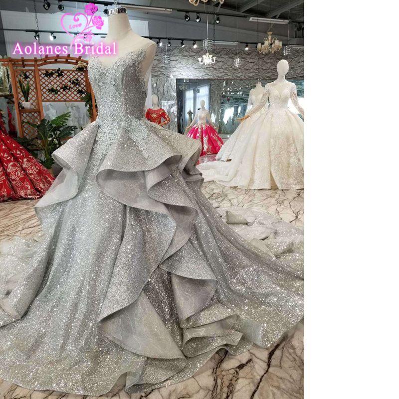 Saudi Arabisch Grau Spitze Puffy Prom Kleider 2019 Abendkleider Appliques Backless Lange Prom Kleider rufuless Vintage Ball Kleider