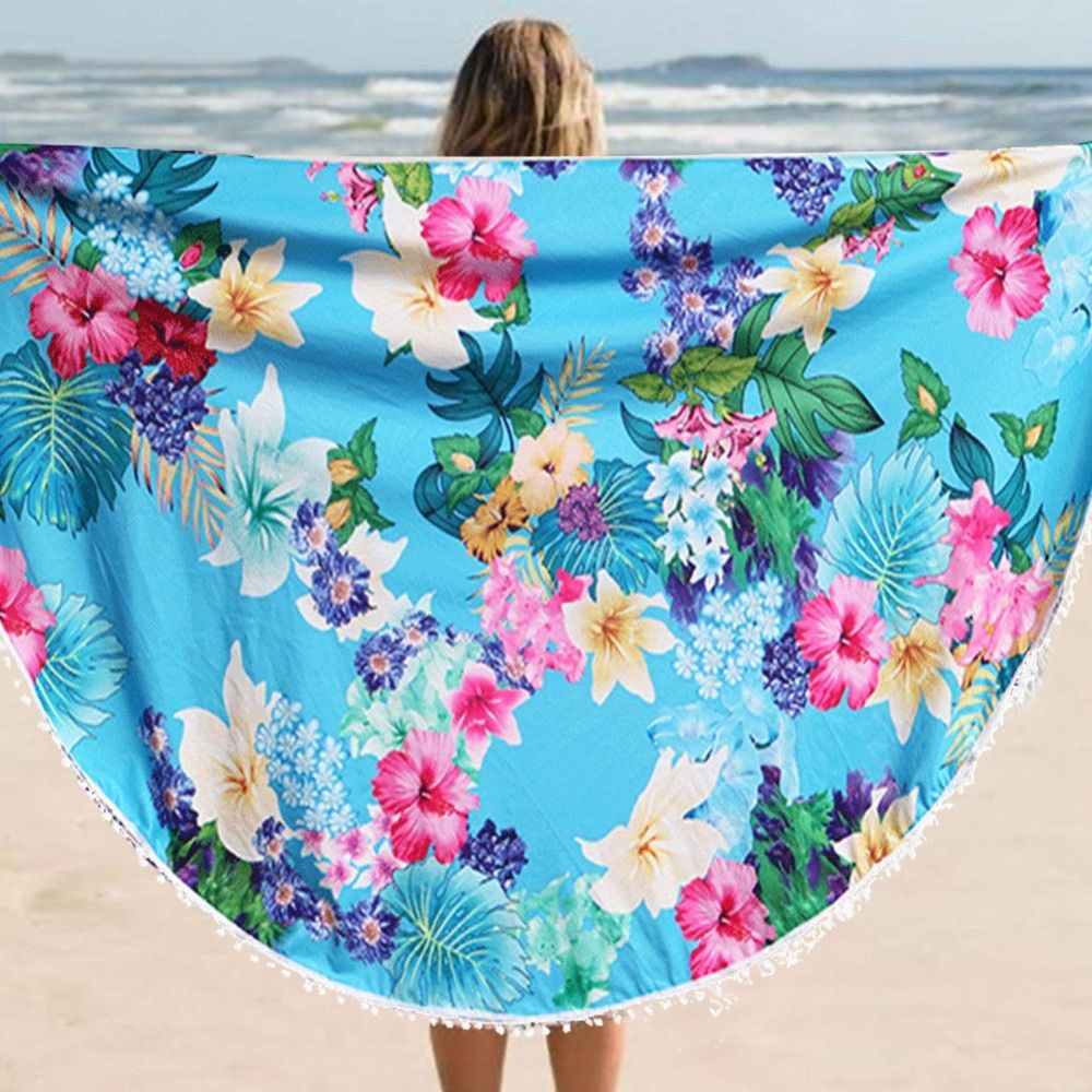 146 cm Ronde Serviette De Plage avec Gland Fleur Impression Serviettes De Bain D'été Balnéaire Châle Serviette De Plage pour Adultes Bain de Soleil serviette